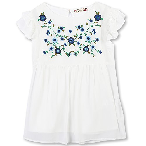 Ivory Flutter Sleeve Top - Speechless Girls' Big' Flutter Sleeve Embroidered Top, Ivory, S