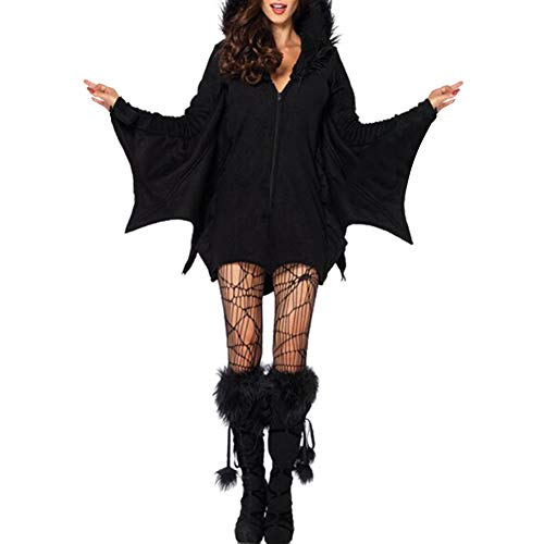 HEART SPEAKER Adult Women Vampire Bat Fancy Dress Cosplay Costume Jumpsuit Halloween Outfit