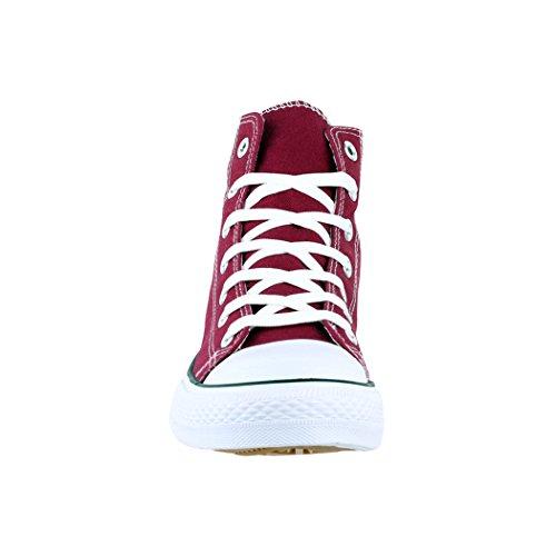 Elara Unisex Sneaker | Sportschuhe für Herren Damen | High Top Turnschuh Textil Schuhe Rot High