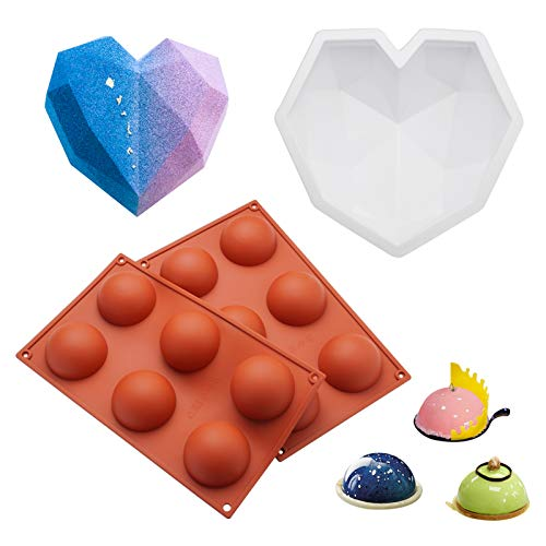 Diamond Heart Shaped Mousse Cake Silicone Mold Trays, For Chocolate, Cake 8.7 inch Dessert Baking Pan with 6 Hole Food Grade Mold for Making Pudding, Brownie, Candy Dessert, Non Stick Baking Tools