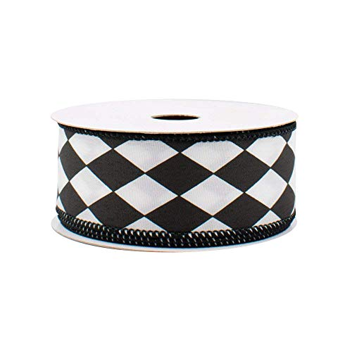 Black White Diamonds Harlequin Ribbon - 1 1/2