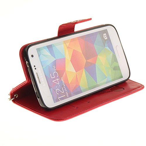 JIALUN-Personality teléfono shell Funda Samsung Galaxy S5, color sólido 3D lindo panda en relieve PU cubierta de la caja de cuero con ranuras para tarjetas Lanyand para Samsung Galaxy S5 Seguridad y M 8