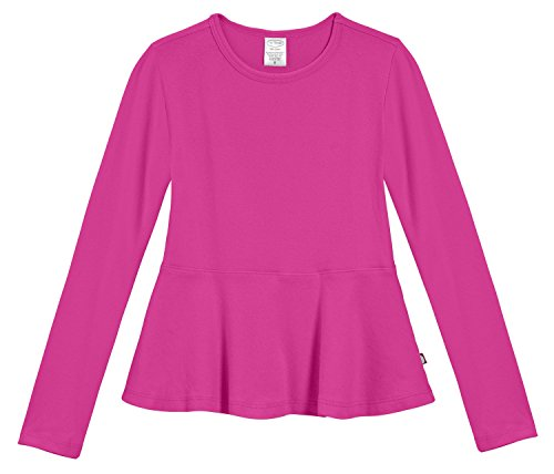 City Threads Big Girls' Cotton Long Sleeve Peplum Top Blouse Shirt For School, Parties or Play Perfect For Sensitive Skin and Sensory Friendly SPD, Hot Pink, 7