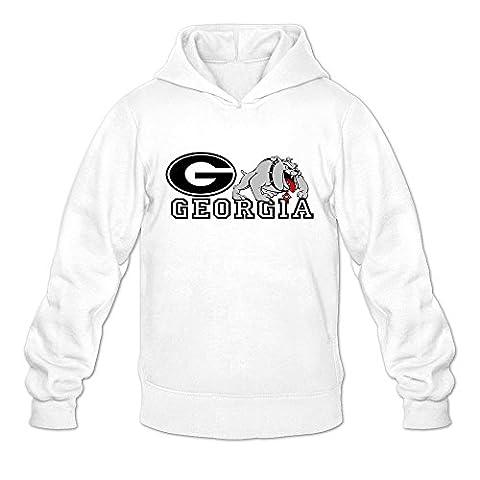 Georgia Bulldogs VAVD Man's 100% Cotton Hoodies White Size M (Georgia Blues Dawgs)