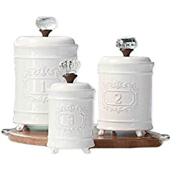 Mozlly Multipack - Mud Pie White Ceramic Footed Glass Door Knob Canisters - Vintage - 10 inch, 9 inch and 7.5 inch - Kitchen Storage (3pc Set) (Pack of 3)