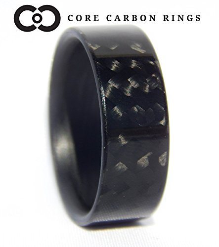 - Men's or Women's 100% Carbon Fiber Twill Gloss Ring - Handcrafted -Lightweight - Black Band/High Gloss Finish - Custom Band widths