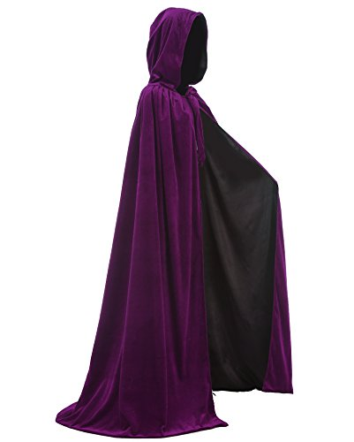 LuckyMjmy Velvet Renaissance Medieval Wedding Cloak Cape Lined with Satin (Large, (Purple And Black Costume Ideas)