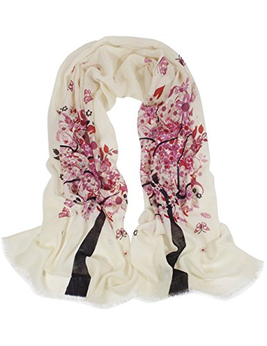 Dahlia Women's 100% wool Scarfs, Wraps, Shawls, Spring Butterfly Blossom ()