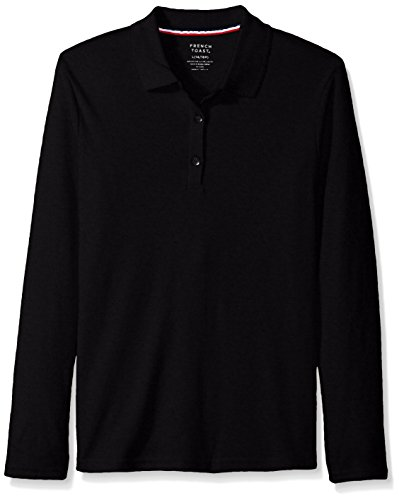French Toast Girls Size' Long Sleeve Interlock Polo with Picot Collar, Black, 125 Plus by French Toast