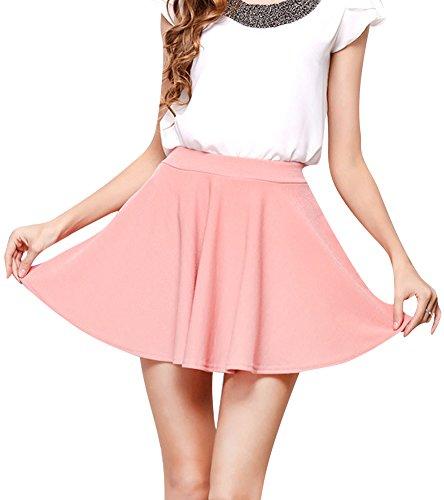 Couleur Pink Femme Jupe Mini Pure t Minetom Casual Stretch Court Fille Plisse q6wtdRg