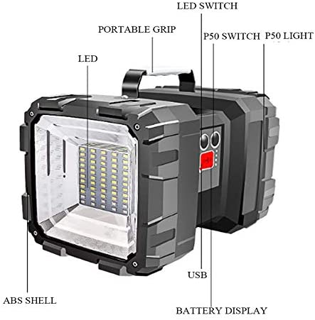 LED Spotlight Flashlight Work Lamp Rechargeable Torch Handheld Searchlight Double Head USB Emergency Light Outdoor Fishing Light