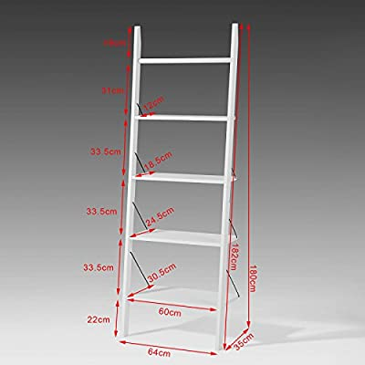 SoBuy® Escalera Perchero, Estante Escalera, Estante Angular, Part Estantería, Blanco, FRG100-W, It: Amazon.es: Hogar