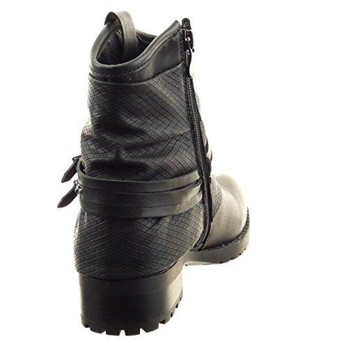 Sopily - Zapatillas de Moda Botines biker - motociclistas A medio muslo mujer piel de serpiente multi-correa tachonado Talón Tacón ancho 3.5 CM - Negro