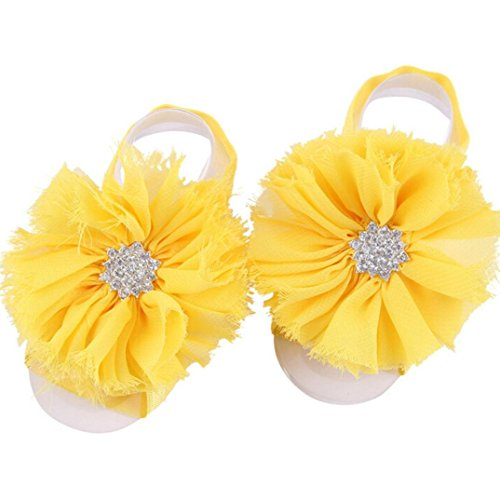 39814b450 FEITONG 2016 1Pair Infant Pearl Chiffon Barefoot Toddler Foot Flower Beach  Sandals (Yellow)