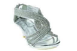 Angel 37K Little Girls Rhinestone Heel Platform Dress Sandals Silver 2