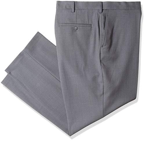 Haggar Men's Tall B&T Stria Tic Stretch Classic Fit Suit Separate Pant, Dark Grey Heather 44Wx30L