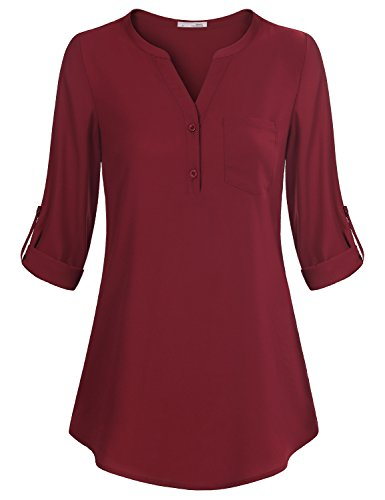 Messic Women's V-Neck Blouses 3/4 Roll-up Sleeve Button Casual Chiffon Tunic Shirt (Wine, X-Large)
