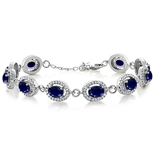 Gem Stone King Blue Sapphire 925 Sterling Silver 7.5 inch Tennis Bracelet 13.08 Ct Oval