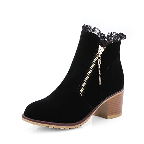 Round 1TO9 Chunky Ladies Frosted Toe Heels Boots Zipper Black qFFIrw6na