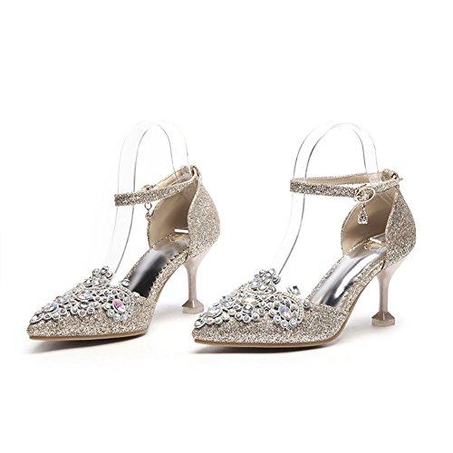 de de Zapatos Moda Artificial Rhinestone Novia Mujer 2018 de Aguja Primavera 36 Hueco Color Alto Otoño tamaño 48 tacón Tacón Señoras de 33 de PU Oro Sandalias Verano ra7wqrz