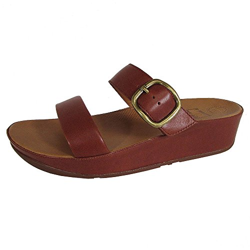 FitFlop Womens Stack Slide Leather Sandals Dark Tan
