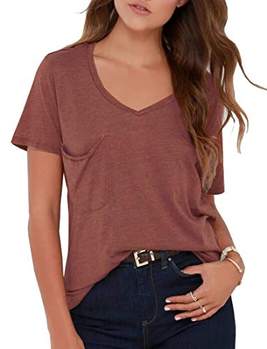 Simple Classic T-shirt - TASAMO Women Plus Size Comfy Loose Fit Short Sleeve V Neck Lightweight Top Tee (Rust Red, XX-Large)
