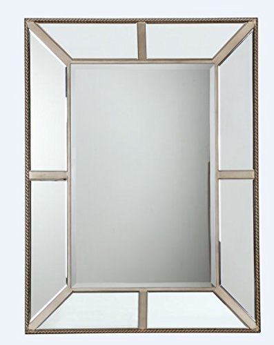 The Display Guys, 48 x 36 inch Square Tall Wall Mount Decorative Mirror For Vanity, Bedroom, or Bathroom Hangs Horizontal & - Mount Wall Inch Glass 48