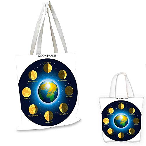 Educational canvas messenger bag Circular Frame Showing Basic Phases of Moon Calendar Cosmos Universe fruit shopping bag Blue Indigo Mustard. 14