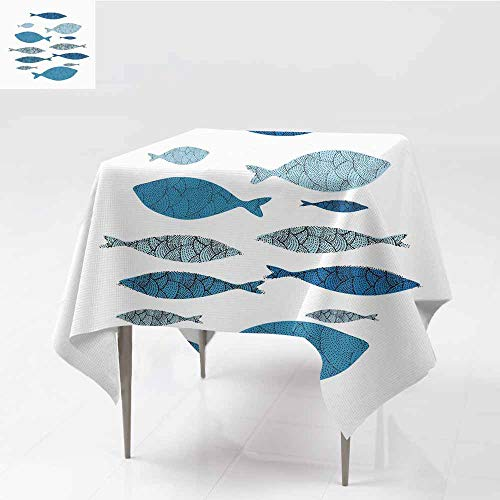 (ZWARRT Square Tablecloth for Wedding Black Blue Fish (4),W36 x L36 Table Cloth Home Decoration)