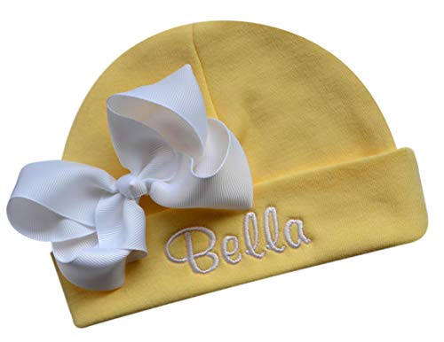 Personalized Embroidered Baby Girl Hat with Grosgrain Bow with Custom Name (Yellow Hat/White Bow) -