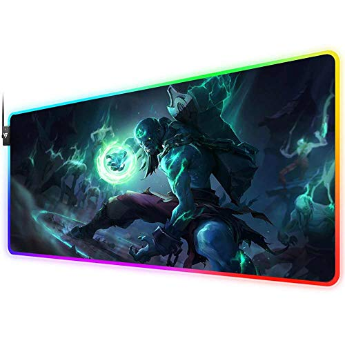 RGB Gaming Mouse Pad for League of Legends,LED Soft Extra Extended Large Mouse Pad,Anti-Slip Rubber Base,Computer Keyboard Mouse Mat 31.5 X 12 Inch(Zombie ryze)