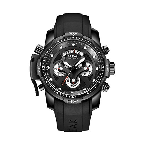 Face Rubber Band - BREAK Watches for Men Sports Chronograph Waterproof Analog Quartz Watch with Rubber Band Top Luxury Brand Casual Big Face Mens Wrist Watch(Black)
