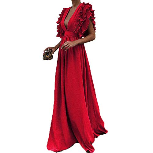 Women Flared Maxi Dress Fashion Wedding Cocktail Party Vintage Fly Sleeve Back Hollow Oversize