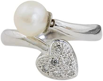 NOVICA Cubic Zircon White Cultured Freshwater Pearl .925 Sterling Silver Ring 'Purity of Heart'