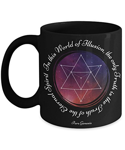 In this World of Illusion, the only Truth is the Truth of the Eternal Spirit - enlightening spiritual meditation yoga gift mug by Pure Genesis black coffee cup