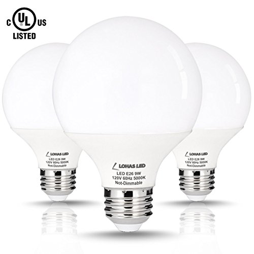 LOHAS 9 Watt LED Globe Bulb(with UL Listed), G25 LED Bulbs, 60Watt Vanity Light Bulbs Equivalent, LED Light Bulb Daylight 5000k, Medium Screw Base (E26), 810lm LED Lamp for Home Lighting-3 Pack (Halogen Vanity Fixture Light)