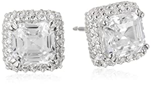 Sterling Silver Simulated Diamond Square 5.5mm Stud Earrings from PAJ, Inc