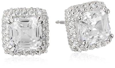Sterling Silver and Cubic Zirconia Asscher Cut Stud Earrings