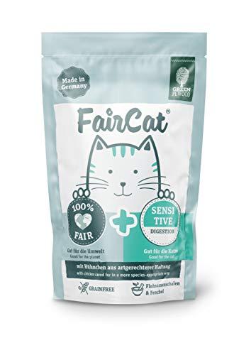 Green Petfood FairCat Sensitive – Getreidefrei/mit Flohsamen & Fenchel – Katzenfutter Nass 16x85g