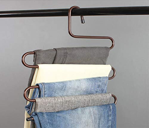 Durable Pants Hangers Clothes Organizer Space Saver Storage Rack for Hanging Jean Trouser Tie Scarf Belt Jewelry Clothing Accessories Brown Pack 2 ()