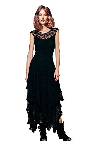 [CA Fashion Women's Sleeveless Floral Lace Tiered Long Irregular Party Dress, Black, Large Large] (Goth Dress)