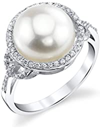 11mm White Freshwater Cultured Pearl & Crystal White Button Ring