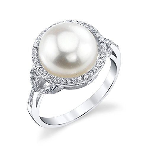 (THE PEARL SOURCE 11-12mm Genuine White Freshwater Cultured Pearl & Cubic Zirconia Ring for Women)