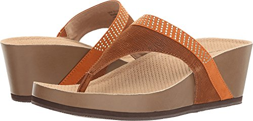 SoftWalk Women's Heights Wedge Sandal, Cognac/Gold, 7.5 N - N Gold Brown