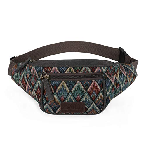 IDAILU Fanny Pack for Women Boho Festival Canvas Fannie Running Belt Waist Bag (Floral)