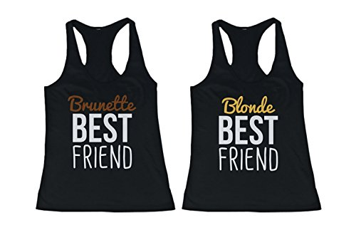 365 In Love Cute Brunette and Blonde Best Friend Tank Tops - Matching BFF Tanks (Left-XL/Right-S) (Blonde Brunette Best Friend)