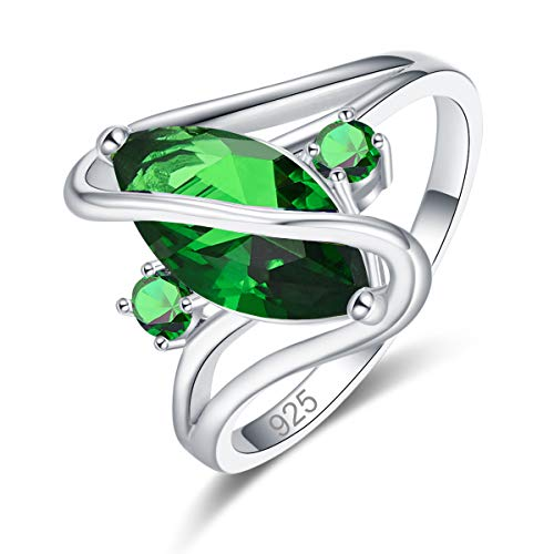 Veunora 925 Sterling Silver Plated Lab-Created Emerald Quartz Promise  Proposal Engagement Wedding Rings for Women Girl Size 11