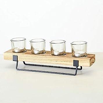 Meinposten Kerzenhalter Tischdeko Holz Metall Teelichthalter