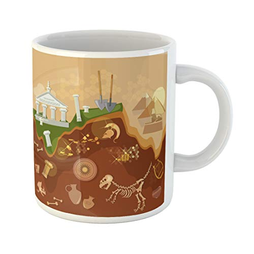 Emvency Funny Coffee Mug Dig Archeology Treasure Hunters Ancient Artifacts Archaeological Excavations Greece 11 Oz Ceramic Coffee Mug Tea Cup Best Gift Or Souvenir
