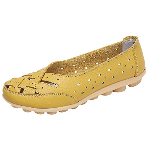 Aunimeifly Mom Comfortable Shoes Women Peas Boat Shoe Lady Criss-Cross Band Flats Hollow Out Soft Sandals Yellow (Periwinkle Cross)